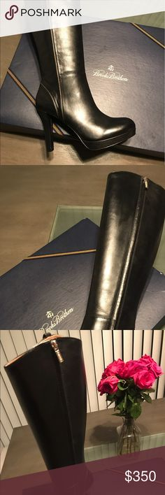 Woman brand new Black knee high leather boots Brand new leather boots, black, knee length never worn. Size 8 brand is Brooks Brothers Brooks Brothers Shoes Heeled Boots