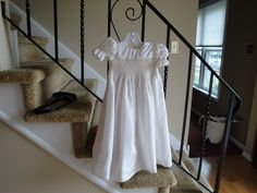 My first hand smocked Christening dress Heirloom Sewing, Christening, Smocking, Students, White Dress, Dresses, Fashion, Vestidos, Moda