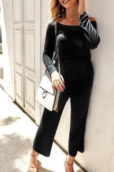 The maternity solid color off-the-shoulder jumpsuit is a good choice of fashion in summer and it is a god choice of fashion and you will love it. Maternity Jumpsuit, Off Colour, Off The Shoulder, Rompers, Chic, God, Collection, Dresses, Summer