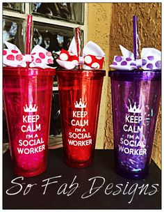 Personalized Keep Calm I'm a Social Worker, Acrylic Cup with screw on lid and straw.