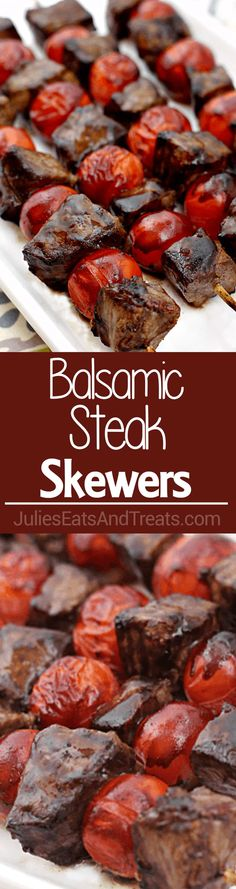 Balsamic Steak Skewers Tender Steak Marinated In A Tangy Balsamic Vinaigrette And Grilled To Perfection Visit For More Easy, Family, Friendly Recipes And Stress-Free Dinner Time Julieseats Steak Recipes, Grilling Recipes, Real Food Recipes, Cooking Recipes, Healthy Recipes, Barbecue Recipes, Kabob Recipes, Healthy Eats, Steak Skewers