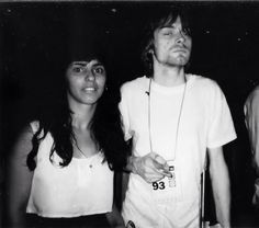 Kurt Cobain in Brazil with a fan, 1993.
