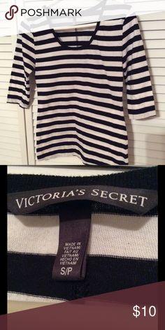 Victoria's Secret striped blouse Black and white striped cotton blouse with quarter length sleeves. Victoria's Secret Tops Blouses