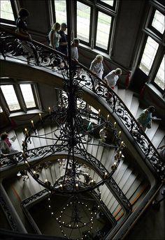 Visitors descend a grand staircase at the Biltmore House, Asheville, NC via LJWorld.com