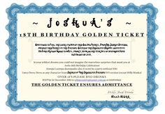 Josh's 18th Willy Wonka Party Invite- You can download the font from Tim Burton's page :-)