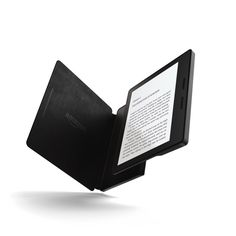Here is the Kindle Oasis with the black leather charging cover.