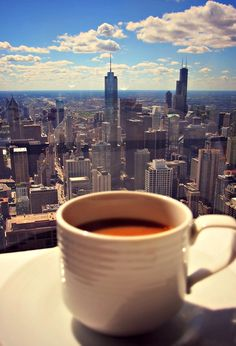 Healthy Coffee with a view, Chicago. The Windy City . But First Coffee, I Love Coffee, Coffee Break, My Coffee, Morning Coffee, Coffee Music, Morning Mood, Thursday Morning, Morning View