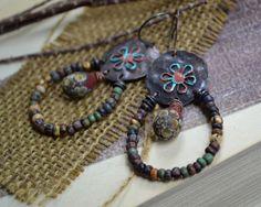 Rustic bohemian assemblage earrings / Cottage chic by JeSoulStudio, $58.00