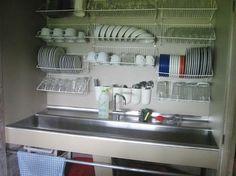 Dish drying racks above sink