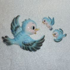 Vintage Lefton Bluebird Wall Plaques 3 Mom Babies Blue by crazy4me