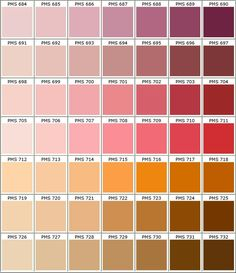 Nuancier PANTONE rose/biolet/rouge/orange/marron