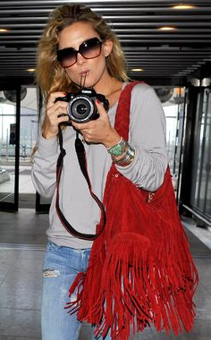 love Kate's big red fringe purse & turquoise bracelets