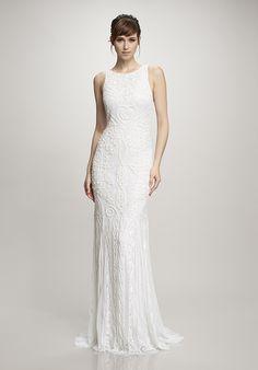 Low-back beaded wedding dress from Theia | http://trib.al/1NjWlpx