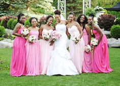 Ombre Pink Bridesmaids this is pretty!