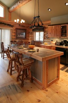 Kitchen Island Decor Small Kitchens Our Small Kitchen Remodel Kitchen . 1001 Ideas For Inspiring Rustic Kitchen And Dining Room . Home and Family Rustic Kitchen Island, Kitchen Dining, Kitchen Islands, Ikea Kitchen, Log House Kitchen, Bar Kitchen, Kitchen Decor, Country Kitchen, Kitchen Interior
