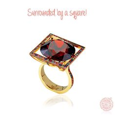 Surrounded by a square!#JewelleryTheatre, #18K, #YellowGold, #Ring, #Garnet, #Diamonds, #Jewelry, #Jewellery