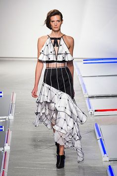 Style Trend: Black and White, Ruffles; Rodarte Spring 2014 This dress is a train wreck!