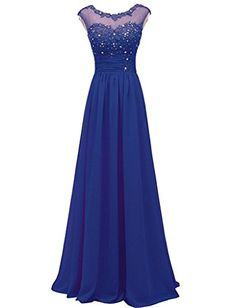Huafeiwude Prom Dresses Chiffon Lace Bridesmaid Evening Dresses Royal Blue US 20 ** See this great product. (Note:Amazon affiliate link)