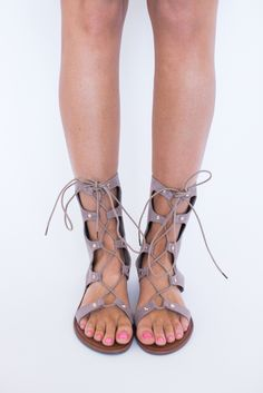 Taupe Gladiator Sandals - Dottie Couture Boutique