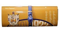 - Magnetic snap closure - Silver-tone hardware - Detachable chain shoulder strap - Royal blue buckle - Gold colored magazine clutch - L 12 * H 4.75 * W 1