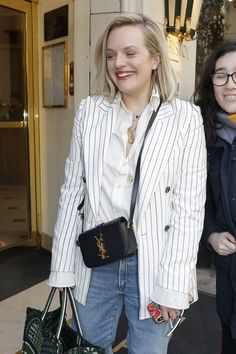 #elizabethmoss ELIZABETH MOSS at Her Hotel in Paris 02/17/2020 Peggy Olson, Elizabeth Moss, Paris Hotels, Asd, Off Duty, Hairstyles, Queen, Blazer, Actors