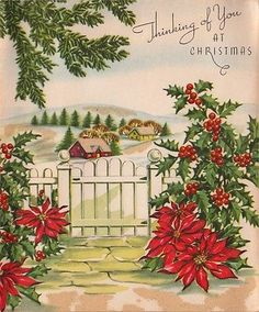Vintage Greeting Card Christmas Poinsettia Flowers Landscape Houses L522