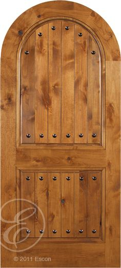 Exterior Solid Knotty Alder Arvada Radius Top Two Panel V-Groove w/Clavos [[ARR662C-E]]