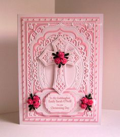 Baptism, Christening, Communion, Confirmation Spellbinders religious cross with unbranded mat dies from swan set Confirmation Cards, Baptism Cards, Handmade Christening Cards, Pinterest Birthday Cards, Easter Cards Religious, First Communion Cards, Spellbinders Cards, Christian Cards, Anna Griffin Cards
