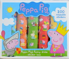 Peppa Pig's Fancy Dress Sticker Box - 200 reusable stickers great for crafts and decorating almost anything! http://www.4littlepeople.co.uk/peppa-pig-fancy-dress-stickers/