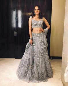 Excited to share this item from my shop: VeroniQ Trends-Bollywood Manushi Miss India inspired Heavy Lehenga Blouse in Grey Net With Embroidery,Pearl Work,Silver piping lace-VQ Designer Bridal Lehenga, Bridal Lehenga Choli, Indian Lehenga, Net Lehenga, Lengha Choli Designer, Bollywood Lehenga, Blue Lehenga, Bollywood Dress, Ghagra Choli