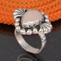 PEARL 925 SOLID STERLING SILVER DESIGNER RING 6.66g DJR6099 #Handmade #Ring