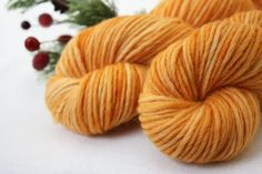 Hand Dyed Yarn Bulky Weight / Citron Orange Semisolid by phydeauxdesigns, $22.00