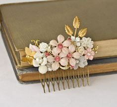 Bridal Hair Accessory - Spring Wedding Hair Comb, Pink Flowers Gold Leaves Vintage Shabby Chic Hair Comb, Something Old Bridal Hair Comb. $96.00, via Etsy.