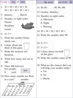 mental math grade 1 day 37