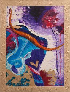 Toro solo - Olio su tela e foglia oro - Cornice fatta a mano - 50×70 cm - 2009