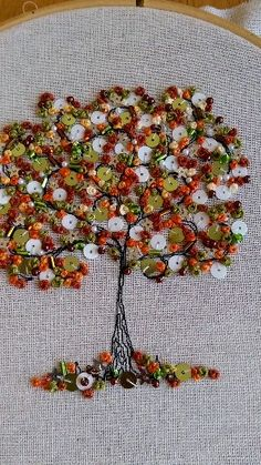 Tree of life freemotion machine embroidery with handstitched blossom - Stickerei Ideen Hand Embroidery Videos, Embroidery Stitches Tutorial, Hand Embroidery Stitches, Silk Ribbon Embroidery, Embroidery Hoop Art, Crewel Embroidery, Hand Embroidery Designs, Hand Work Embroidery, Hand Stitching