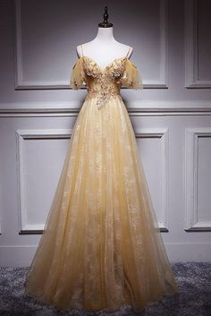 Champagne tulle lace long prom dress, champagne evening dress, customized service and Rush order are available Ball Gowns Evening, Ball Gowns Prom, Ball Gown Dresses, Corset Prom Dresses, Prom Ballgown, Dresses For Balls, Long Evening Dresses, Dresses For Prom, Different Prom Dresses