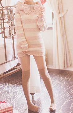 Sweater dress ♥ With free flowing hair. Girly and innocent. Can go with tights and heels or lace socks and heels.