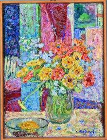 Kwiaty (1956) olej, płótno, 61x46 w zbiorach Muzeum Narodowego we Wrocławiu , Hanna Rudzka-Cybisowa