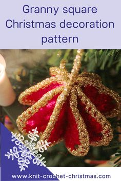 Granny square Christmas tree decoration pattern. Free written pattern in Ravelry and videotutorial. #christmascrochet #christmasdecoration #crochetpattern