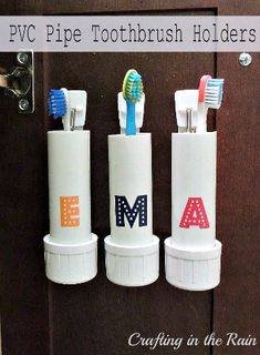 PVC pipes aren't just for waterways you can make unexpected DIY projects out of them. These crafty PVC pipe tutorials show you how to make the cutest crafts, DIY Decor, and toys for kids. Some of these PVC pipe projects include a pvc pipe sunburst mirror… Home Organization Hacks, Organizing Your Home, Bathroom Organization, Bathroom Storage, Organized Bathroom, Toiletry Organization, Small Bathroom, Bathroom Ideas, Diy Projects Using Pvc Pipe