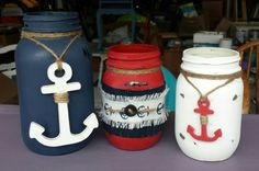 Nautical Themed Jars I made for my sister's birthday present! Sister Birthday Presents, My Sister Birthday, Upcycling Projects, Nautical Theme, Mason Jars, Upcycle, Projects To Try, Diy, Upcycling