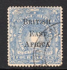 British East Africa 4 Rupee Overprint Stamp C1895 Used S225