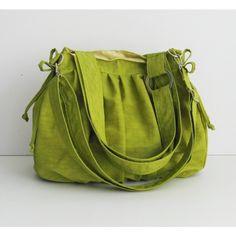 Sale - Water Resistant Nylon Pumpkin Bag in Apple Green - Sh... - Polyvore