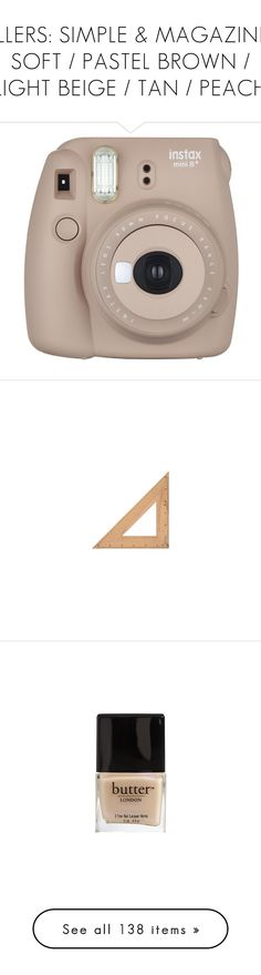"""""""FILLERS: SIMPLE & MAGAZINE   SOFT / PASTEL BROWN / LIGHT BEIGE / TAN / PEACH"""" by doubting ❤ liked on Polyvore featuring fillers, camera, electronics, tech, accessories, backgrounds, school, home, brown fillers and objects"""