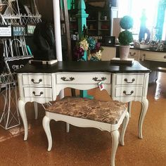 French Provincial Vanity Desk with Stool www.facebook.com/EsthersEmporiumPaintedFurniture
