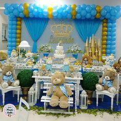 Inspiração para as Mamães que estão pensando em fazer festinha com o tema Urso Principe  Gente, fiquei apaixonada assim que vi!! Esse foi o tema da festa de 1 ano que fui hoje, do meu priminho Leonardo. Gostaram? #Aniversario1Ano #Decoracao1Ano #UrsoPrincipe #PrincipeUrso #AniversarioDeMenino