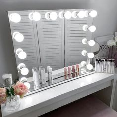 Vanity Collections - Modern Makeup Storage and Decor. Mirrored Bedroom Furniture, Rustic Furniture, Bedroom Decor, Teen Bedroom, Bedroom Ideas, White Vanity Mirror, Ikea Mirror, Vanity Mirrors, Hollywood Mirror Ikea