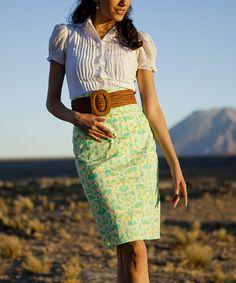 Green Humboldt Current Pencil Skirt