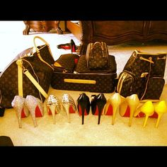 Louis Vuitton luggages and Louboutin shoes - Luxe!